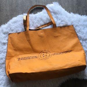 Merona large vegan leather gold/ mustard tote